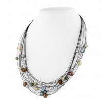 Sterling Silver and Steel 5-8MM Dark Multi Necklace