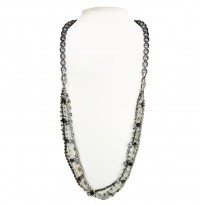 Sterling Silver 4-11MM Black and Jet Freshwater Cultured Pearl with Mixed Gemstone 36 Necklace