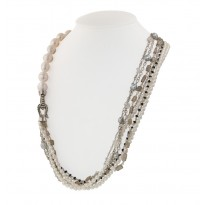 Sterling Silver 4-11MM White and Gray Freshwater Cultured Pearl, Moonstone and Onyx 36 Necklace