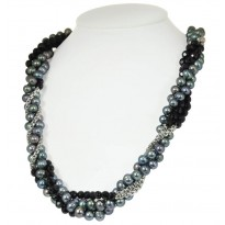 Sterling Silver Four Strand 6-8MM Black Ringed Freshwater Cultured Pearl Black Onyx Necklace