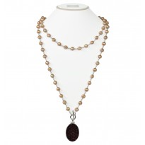 Sterling Silver 7-8MM Mocha Ringed Freshwater Cultured Pearl with Chocolate Agate Druzy 48 Necklace