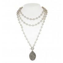 Sterling Silver 7-8MM White Ringed Freshwater Cultured Pearl with Silver Agate Druzy 48 Necklace