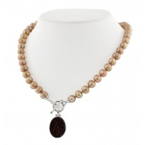 Sterling Silver 7-8MM Mocha Round Ringed Freshwater Cultured Pearl with Chocolate Agate Druzy 18 Toggle Necklace