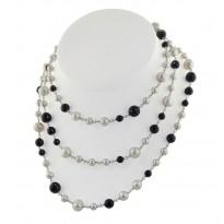 Sterling Silver 6-10mm White Round Ringed Freshwater Cultured Pearl with Faceted Black Onyx 54 Necklace