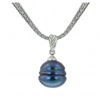 Sterling Silver 13-14 Black Ringed Freshwater Cultured Pearl 18 Pendant