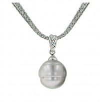 Sterling Silver 13-14 Grey Ringed Freshwater Cultured Pearl 18 Pendant