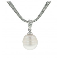 Sterling Silver 13-14 White Ringed Freshwater Cultured Pearl 18 Pendant