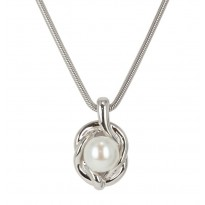 Sterling Silver 9.5-10MM White Button Freshwater Cultured Pearl Pendant on 18 Chain