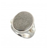 Sterling Silver 4.5-5mm White Button Freshwater Cultured Pearl with Silver Agate Druzy Ring