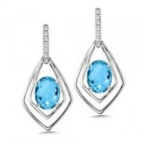 Colore Blue Topaz and Diamond Earrings
