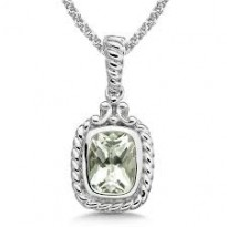 Colore Green Amethyst Pendant and Chain