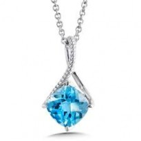 Colore Blue Topaz Pendant and Chain