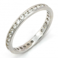 Round Diamond Eternity Ring with Milgrain Edge