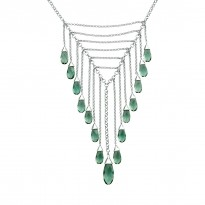 ELLE Sterling Silver 16 in. + 2.5 in. Created Green Quartz Necklace