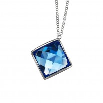 ELLE Sterling Silver 16 in. + 2.5 in. Created Blue Quartz Necklace