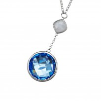 ELLE Sterling Silver 16 in. + 2.5 in. Blue Lace Agate and Created Blue Quartz Necklace