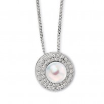 ELLE Sterling Silver 16 in. + 2 in. Pearl and Micro Pave CZ Necklace