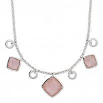 ELLE Sterling Silver 18 in. + 2 in. Rose Quartz Necklace