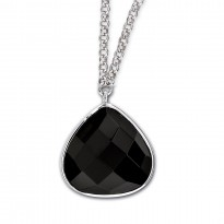 ELLE Sterling Silver 18 in. + 2 in. Black Agate Necklace