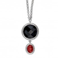 ELLE Sterling Silver 18 in. + 2 in. Red and Black Agate Necklace
