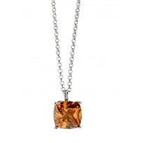 ELLE Sterling Silver 16 in. + 2 in. Champagne CZ Necklace