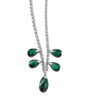ELLE Sterling Silver 16 in. + 2 in. Created Green Quartz Necklace