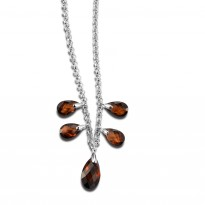 ELLE Sterling Silver 16 in. + 2 in. Smoky Quartz Necklace