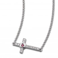 ELLE Sterling Silver 16 in. Micro Pave CZ Cross Necklace