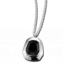 ELLE Sterling Silver 16 in. + 2 in. Black Agate Necklace