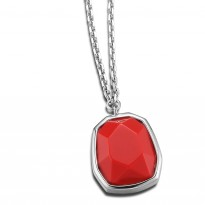 ELLE Sterling Silver 16 in. + 2 in. Created Coral Necklace