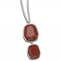 ELLE Sterling Silver 16 in. + 2 in. Brown Goldstone Necklace