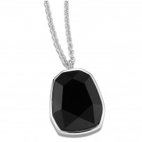 ELLE Sterling Silver 30 in. + 2 in. Black Agate Necklace