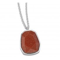 ELLE Sterling Silver 30 in. + 2 in. Brown Goldstone Necklace