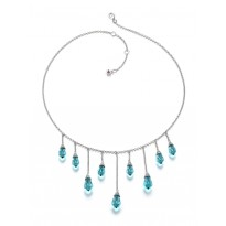 ELLE Sterling Silver 16 in. + 2 in. Light Turquoise CZ Necklace