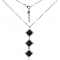 ELLE Sterling Silver 16 in. + 2 in. Black Agate And Micro Pav CZ Necklace