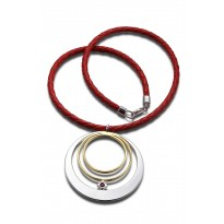 ELLE Sterling Silver & 14kt Gold Plated 16 in. + 2 in. Necklace With Woven Leather Cord