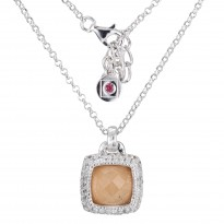 ELLE Sterling Silver 18 in. + 2 in. Red Aventurine, White Crystal Doublet, and Created White Corundum Necklace