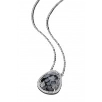 ELLE Sterling Silver 24 in. + 2 in. Snowflake Jasper and Micro Pave CZ Necklace