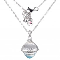 ELLE Sterling Silver 18 in. + 2 in. Dyed Blue MOP with White Crystal Doublet Surrounded by White Corundum