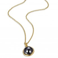 ELLE 18 in. + 2 in. Hematite, Sterling Silver & 14kt Gold Plated Necklace