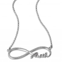 ELLE Sterling Silver 18 in. + 2 in. Micro Pave CZ FAITH Necklace