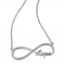 ELLE Sterling Silver 18 in. + 2 in. Micro Pave CZ HOPE Necklace