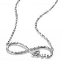 ELLE Sterling Silver 18 in. + 2 in. Micro Pave CZ LOVE Necklace