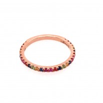 Rose Gold Rainbow Sapphire Stackable Ring