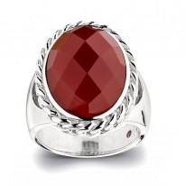 ELLE Sterling Silver Red Agate Ring