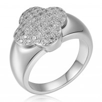 ELLE Sterling Silver Micro Pave CZ Ring