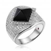 ELLE Sterling Silver Black Agate And Micro Pav CZ Ring