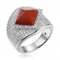 ELLE Sterling Silver Red Jasper And Micro Pav CZ Ring
