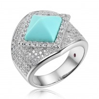 ELLE Sterling Silver Created Turquoise And Micro Pav CZ Ring