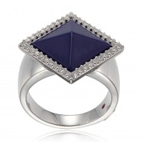 ELLE Sterling Silver Created Lapis And Micro Pav CZ Ring